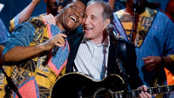 """Simon with the South African musician Joseph Shabalala, founder of the group Ladysmith Black Mambazo, with whom Simon collaborated on """"Graceland."""""""