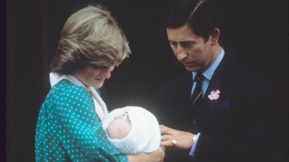 Prince Charles and Princess Diana leave a London hospital with their first child, William, in July 1982.