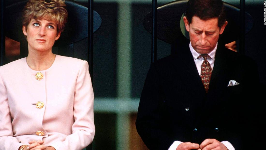 Charles and Diana sit together in Toronto during a royal tour in October 1991. A year later, they were separated. Charles' affair with Camilla Parker-Bowles became public in 1993.