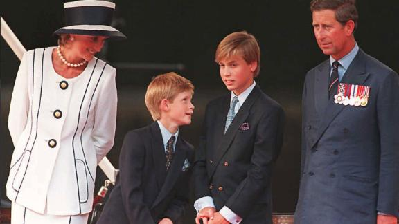 Charles, Diana and their two sons, William and Harry, gather for V-J Day commemorations in London in August 1995. The couple divorced one year later.
