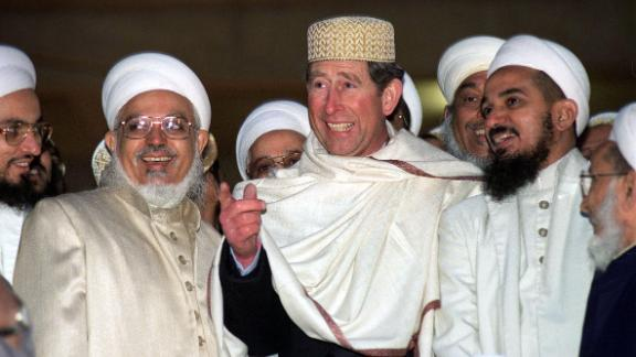 Prince Charles visits a mosque in London in March 1996.