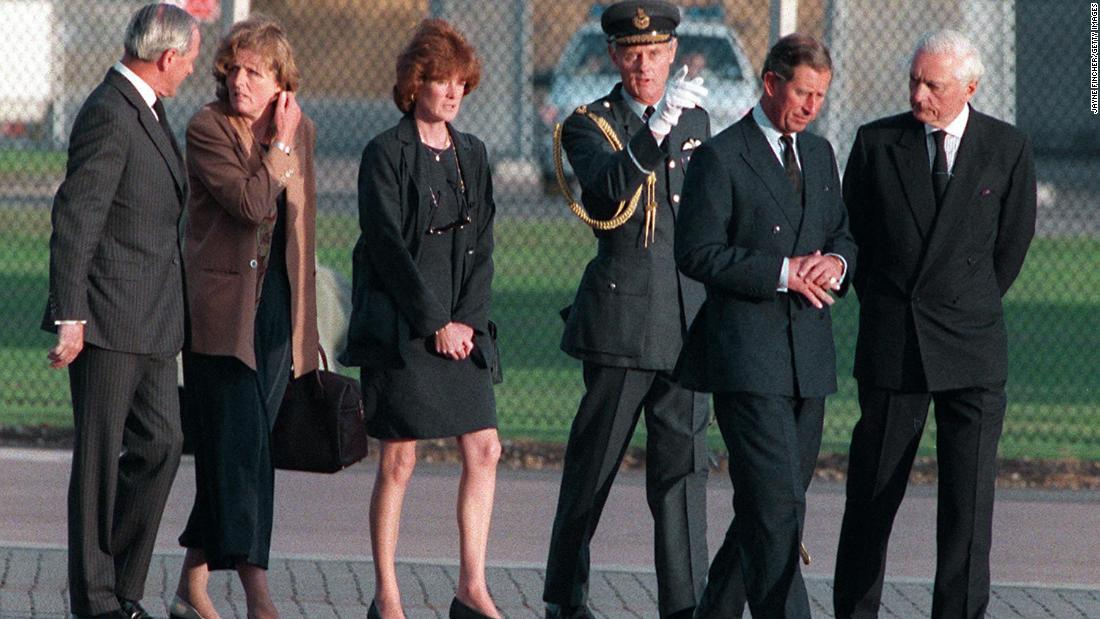Prince Charles, second from right, and Princess Diana's two sisters meet in Paris after Diana was killed in a car crash there in August 1997. She was 36 years old.