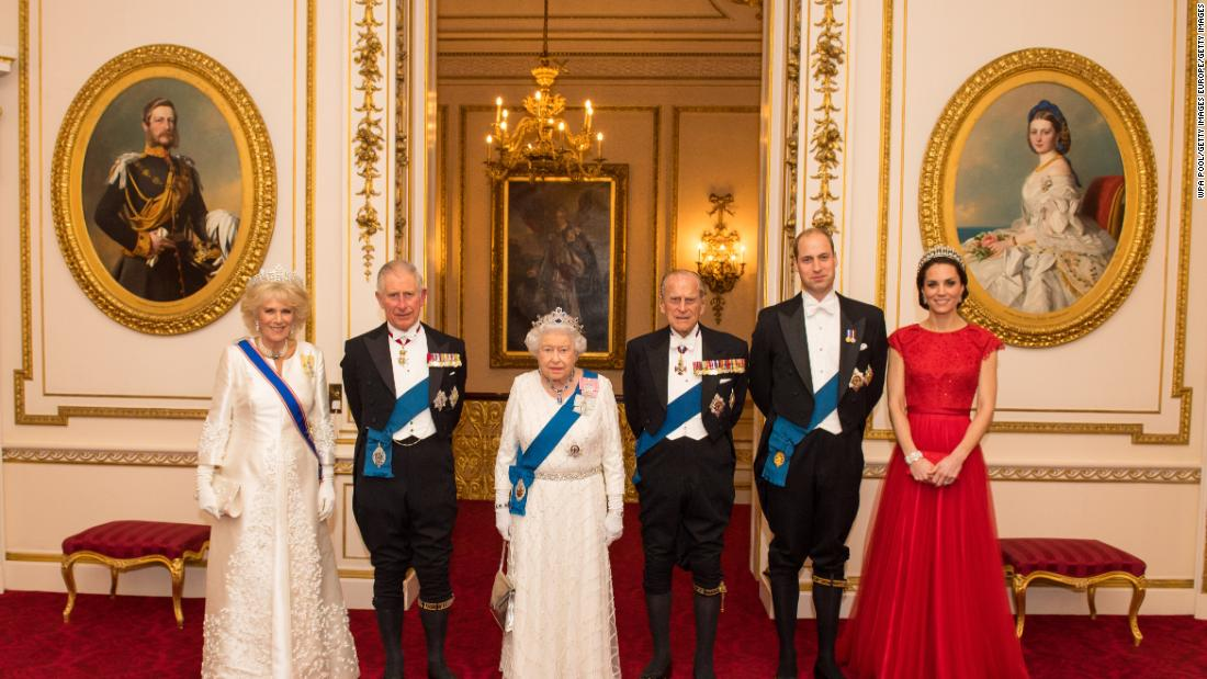 Members of the royal family pose for a photo at Buckingham Palace in December 2016. From left are Camilla, Duchess of Cornwall; Prince Charles; Queen Elizabeth II; Prince Philip; Prince William; and Catherine, Duchess of Cambridge.