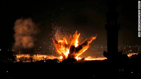 Fire and smoke billow following Israeli air strikes targeting Rafah in the southern Gaza Strip.