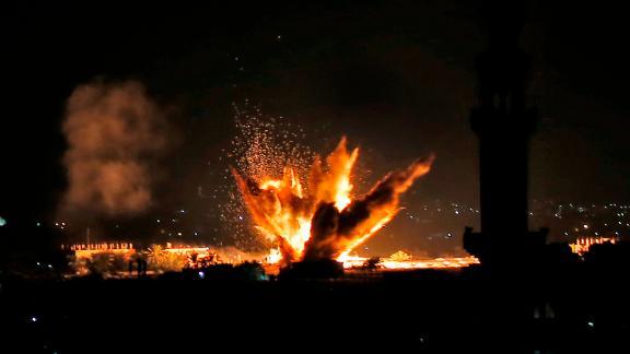 Fire and smoke billow following Israeli air strikes targeting Rafah in the southern Gaza Strip.