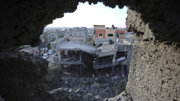 A residential building destroyed in an Israeli air strike in Khan Yunis in the southern Gaza Strip.