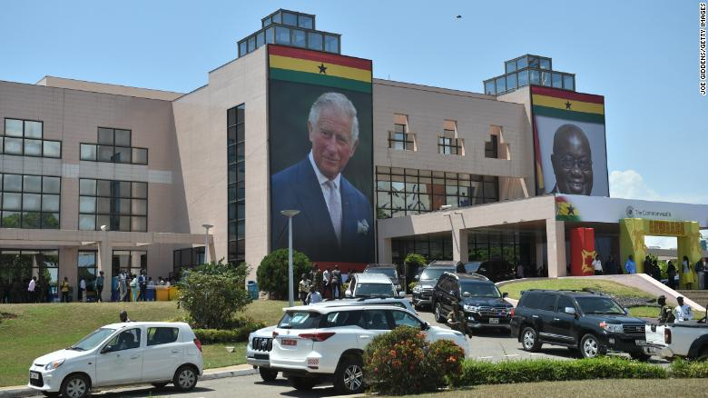 A giant portrait of Prince Charles outside a Young Entrepreneurs Event in Accra, Ghana, on November 5.