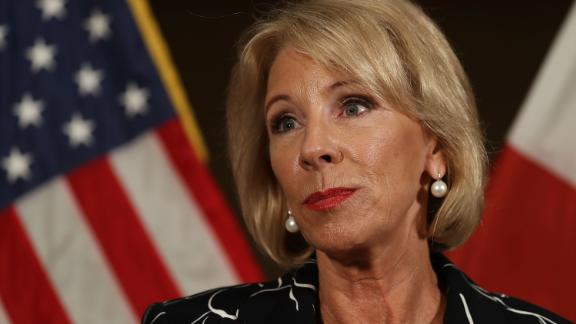 CORAL SPRINGS, FL - MARCH 07:  U.S. Education Secretary Betsy DeVos speaks to the news during a press conference held at the Heron Bay Marriott about her visit to Marjory Stoneman Douglas High School in Parkland on March 7, 2018 in Coral Springs, Florida.  DeVos was visiting the high school following the February 14 shooting that killed 17 people.
