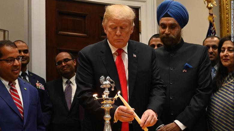 Image result for picture of trump celebrating diwali