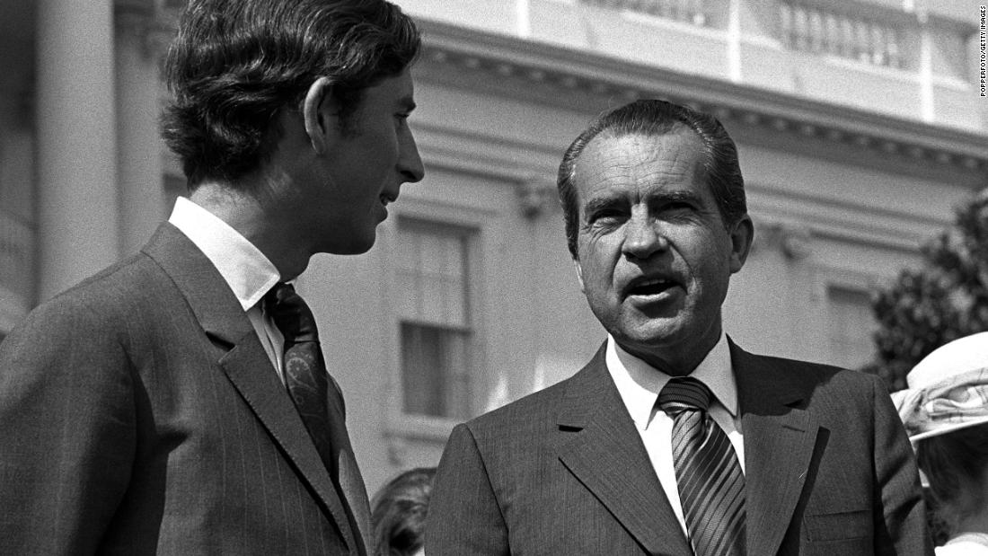 Prince Charles meets US President Richard Nixon during a private visit to Washington in July 1970.