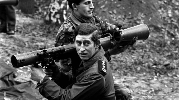 Prince Charles prepares to fire a bazooka while visiting military barracks in West Berlin in October 1972.