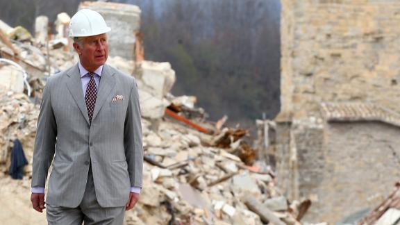 Prince Charles visits the Italian town of Amatrice in April 2017, after an earthquake had hit.