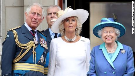 Prince Charles, Prince of Wales, Prince Andrew, Duke of York, Camilla, Duchess of Cornwall and Queen Elizabeth at Buckingham Palacein July 2018.