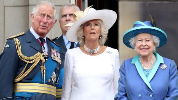 Prince Charles, Camilla and Queen Elizabeth II on the balcony of Buckinbham Palace in 2018.