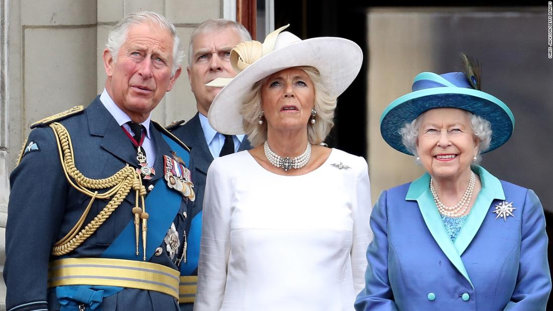 From left, Prince Charles, Prince Andrew, Duchess Camilla and Queen Elizabeth II watch a Royal Air Force flyover in July 2018.