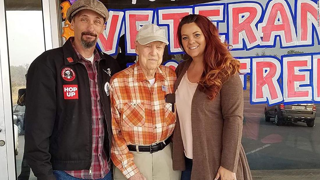 A couple 'adopted' a 93-year-old veteran after his town burned