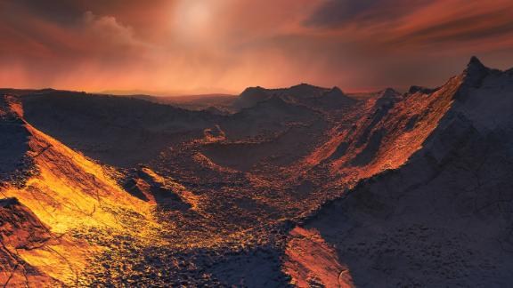 This image shows an artist's impression of the planet's surface.  Credit: ESO/M. Kornmesser
