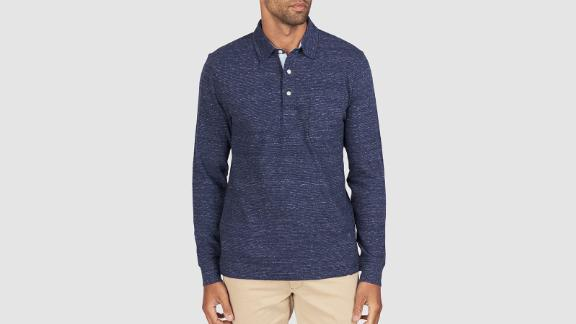Men's clothing and accessories Christmas gift ideas: Faherty Luxe Heather Long-Sleeve Polo ($118; fahertybrand.com)