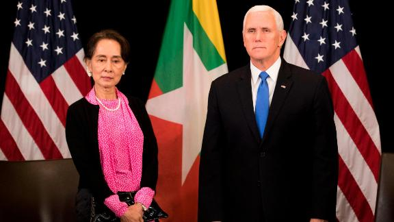 US Vice President Mike Pence and Myanmar State Counsellor Aung San Suu Kyi on the sidelines of the ASEAN summit in Singapore,  November 14, 2018.