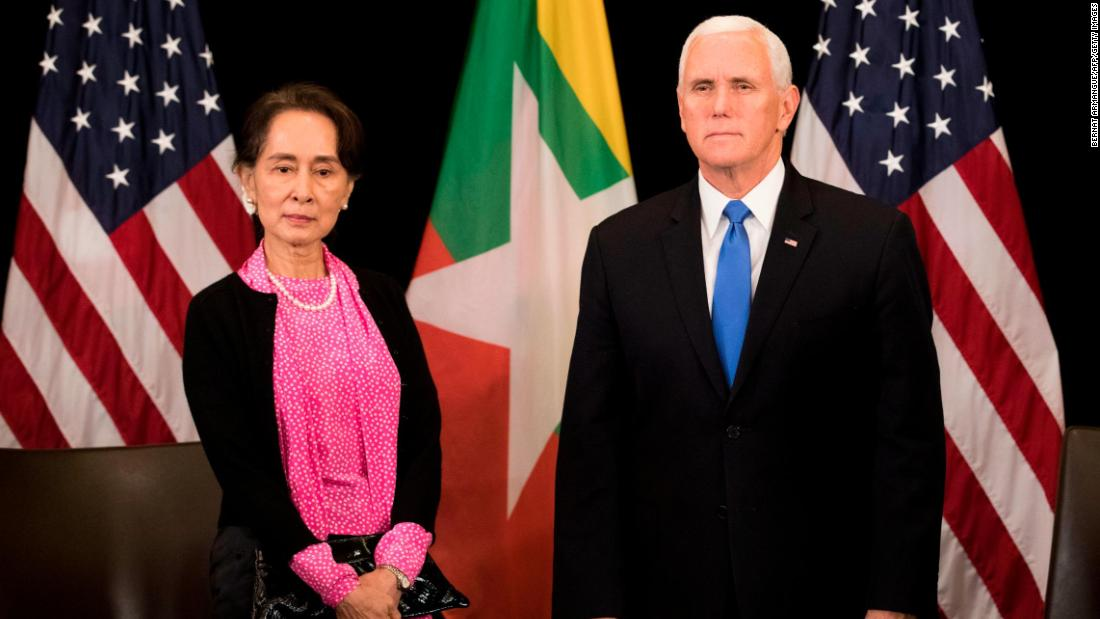 Image result for Suu Kyi, pence , photos