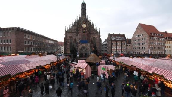 <strong>Nuremberg, Germany:</strong> The traditional Christmas Market opens in front of the Frauenkirche (Church of Our Lady) in Nuremberg.