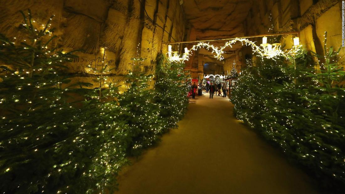 <strong>Valkenburg, The Netherlands:</strong> A general view of the Valkenburg Christmas Market, the largest underground Christmas market in Europe.
