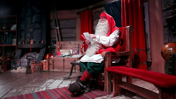 <strong>Rovaniemi, Lapland, Finland:</strong> Santa Claus sits in his chamber at the Santa Claus Village in Rovaniemi, the provincial capital of Finnish Lapland and situated on the Arctic Circle.