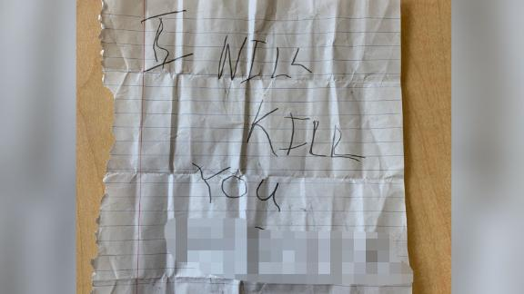 The second note, received by the fifth-grader on Tuesday. CNN obscured parts of this photograph to protect the victim