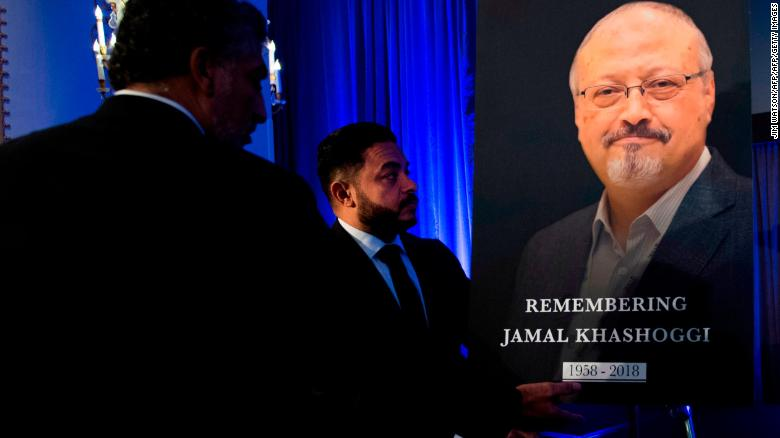 A portrait of Jamal Khashoggi during a remembrance ceremony for him in Washington on November 2.
