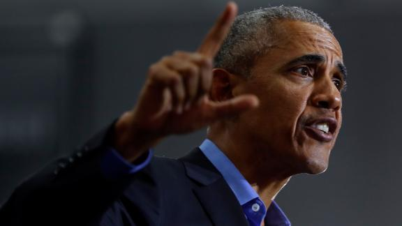 Former President Barack Obama speaks during a rally in Detroit Friday, Oct. 26, 2018.