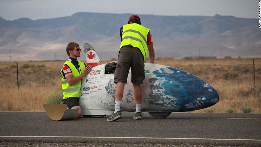 The bike Blue Nose competed this year at the World Human Powered Speed Challenge, which takes place on a very flat 5-mile stretch of public highway.