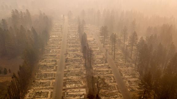 A burned neighborhood is seen on Thursday, November 15, in Paradise, California.