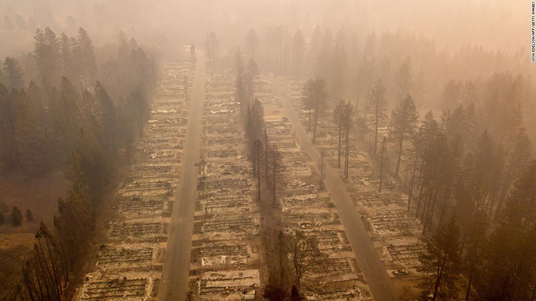 A burned neighborhood is seen in Paradise, California, on Thursday, November 15.