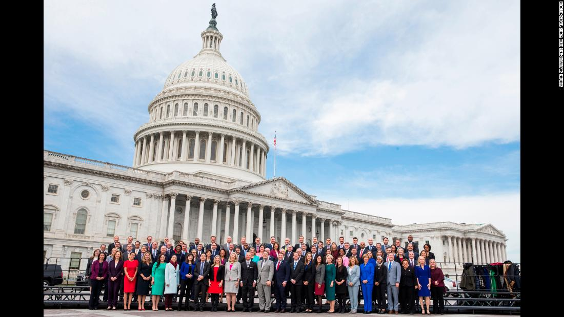 Incoming freshmen members of the US House of Representatives take a group photo in Washington on Wednesday, November 14.