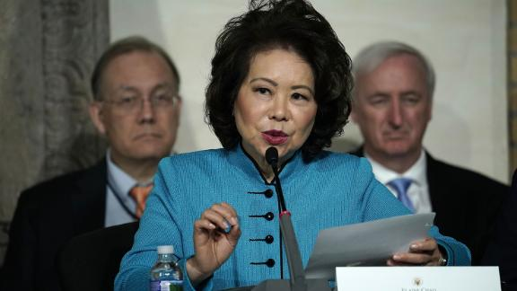 Secretary of Transportation Elaine Chao speaks during the fourth meeting of the National Space Council at National Defense University at Fort McNair October 23, 2018 in Washington, DC.