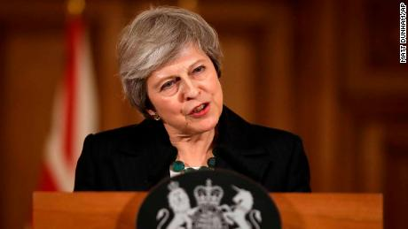 British Prime Minister Theresa May speaks during a press conference inside 10 Downing Street on Thursday.