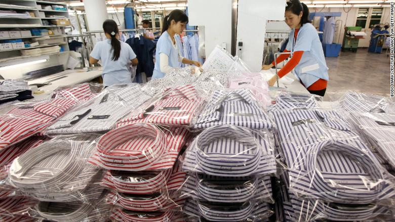 Workers arranging shirts at a factory in Hanoi, Vietnam in 2014. Trade tensions have accelerated the shift of manufacturing from China to countries in Southeast Asia, where labor is cheaper.