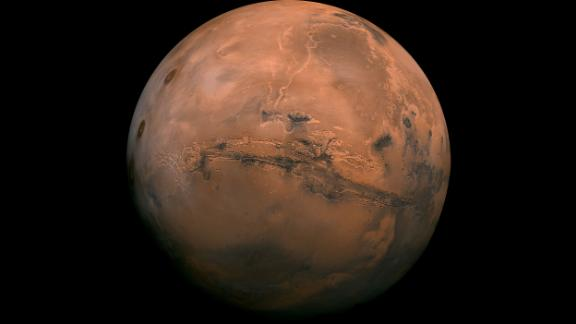 This perspective of Mars