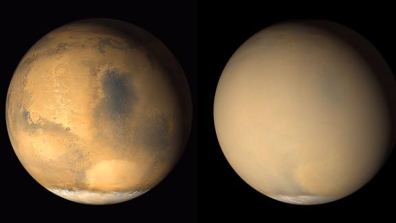 Mars is known to have planet-encircling dust storms. These 2001 images from NASA