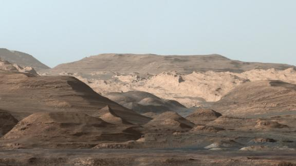 This composite image looking toward the higher regions of Mount Sharp was taken on September 9, 2015, by NASA