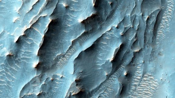 The Mars Reconnaissance Orbiter used its HiRISE camera to obtain this view of an area with unusual texture on the southern floor of Gale Crater.