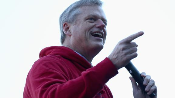 BOSTON, MA - OCTOBER 31:  Governor of Massachusetts Charlie Baker address fans at Fenway Park before the Boston Red Sox Victory Parade on October 31, 2018 in Boston, Massachusetts. The Boston Red Sox defeated the Los Angeles Dodgers to win the 2018 World Series. (Photo by Omar Rawlings/Getty Images)