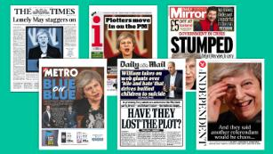 UK media portray a defiant Theresa May on the brink