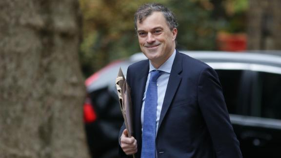 Conservative Party chief whip Julian Smith arrives at Downing Street on Friday.