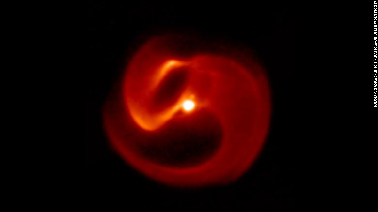 "An image of Apep captured with the VISIR camera on the European Southern Observatory's Very Large Telescope. This ""pinwheel"" star system is most likely doomed to end in a long-duration gamma-ray burst."