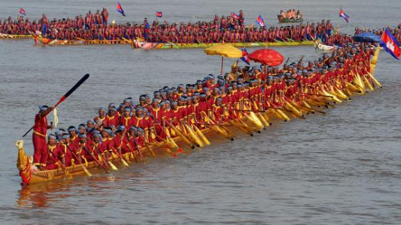 Another water festival takes place in Cambodian capital Phnom Penh each November to commemorate the end of monsoon season. This  long dragon boat carrying 179 rowers and measuring 87.3 meters will be on display during this year