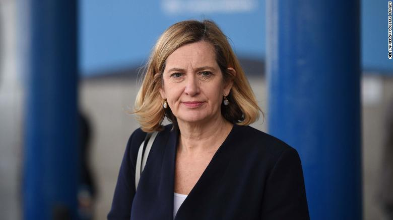 British Conservative Party politician Amber Rudd is seen inside the International Convention Centre in Birmingham, central England, on October 1, 2018 on the second day of the Conservative Party Conference 2018 . (Photo by Oli SCARFF / AFP)        (Photo credit should read OLI SCARFF/AFP/Getty Images)