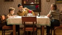 "Griffin Davis, Scarlett Johansson and writer/director Taika Waititi in ""Jojo Rabbit"""