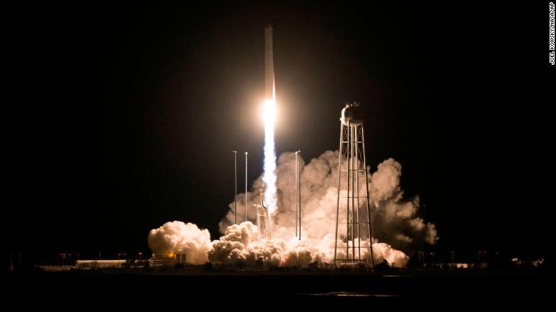 Northrop Grumman's Antares rocket, with Cygnus resupply spacecraft onboard, launches on Saturday, November 17, 2018, at NASA's Wallops Flight Facility in Virginia, this photo released by NASA shows.