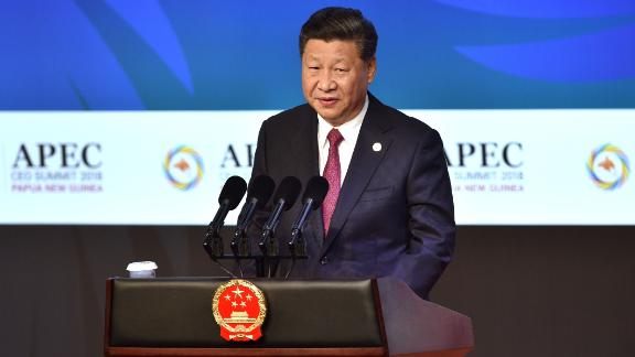 Chinese President Xi Jinping makes his keynote speech for the CEO Summit of the Asia-Pacific Economic Cooperation (APEC) summit in Port Moresby on November 17, 2018. (Photo by PETER PARKS / AFP)        (Photo credit should read PETER PARKS/AFP/Getty Images)